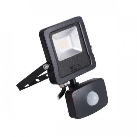 Projecteur LED à Détecteur 10W Noir étanche IP44 800lm (80W) - Blanc Naturel 4000K