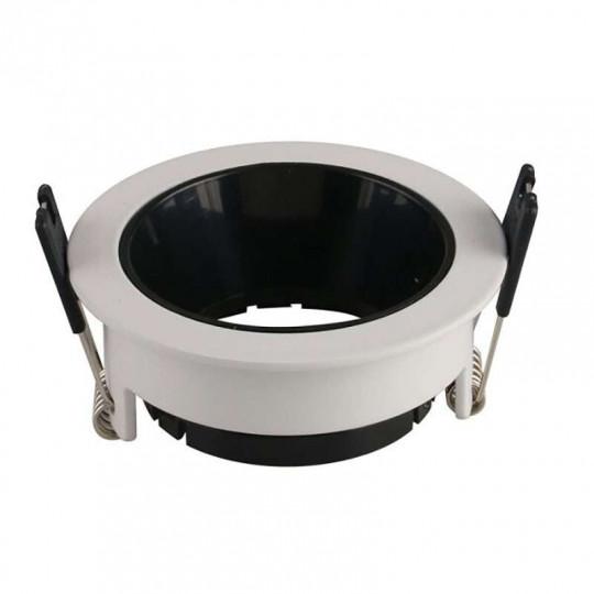 Support de Spot Fixe GU10/MR16 Rond Blanc Réflecteur Noir 79mm