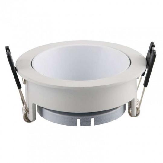 Support de Spot Fixe GU10/MR16 Rond Blanc Réflecteur Blanc 79mm