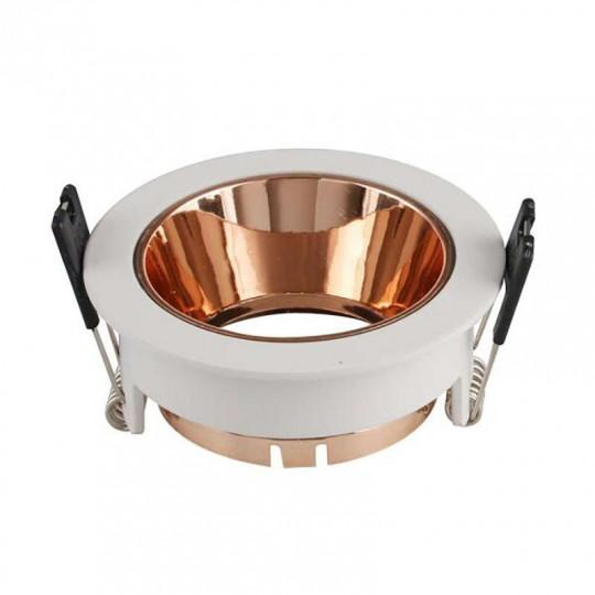 Support de Spot Fixe GU10/MR16 Rond Blanc Réflecteur Or Rose 79mm