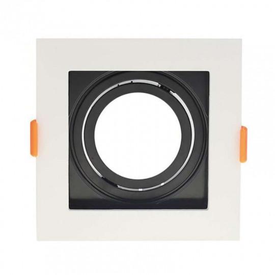 Support de Spot Fixe GU10/MR16 Carré Blanc et Noir 102x102mm