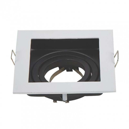 Support de Spot GU10/MR16 Carré Blanc et Noir 100x100mm avec Tête Inclinable