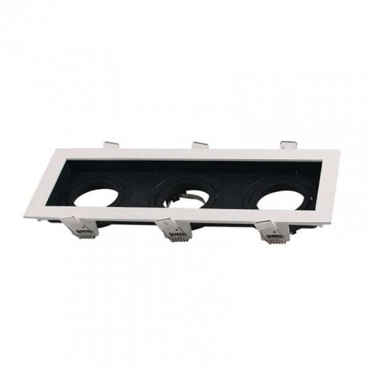 Support de Spot Triple GU10/MR16 Blanc et Noir 270x100mm avec Tête Inclinable
