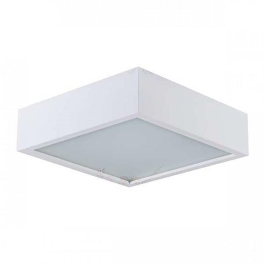Plafonnier à Culot 2 x E27 carré Blanc mat
