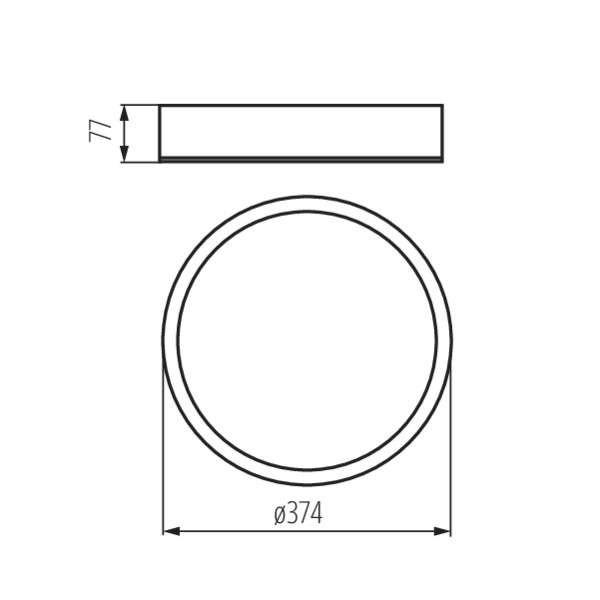 Plafonnier à Culot 2 x E27 rond ∅375mm Wengé