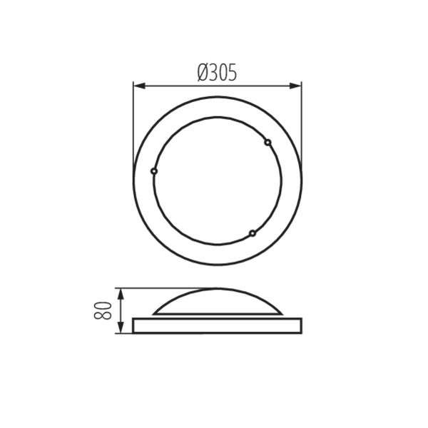 Plafonnier à Culot 1 x E27 rond ∅305mm Chrome