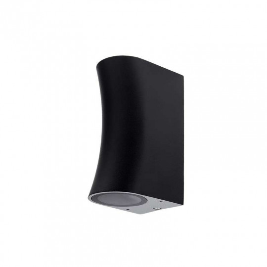 Applique Ronde Arrondie Spot 2xGU10 Aluminium Noire étanche IP44