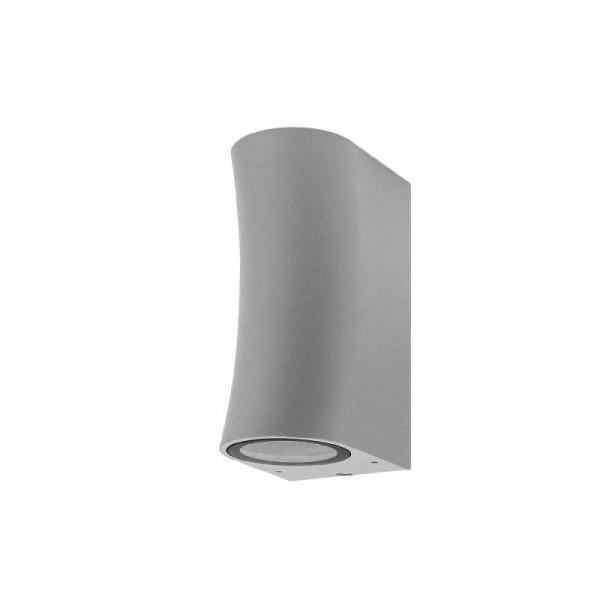 Applique Ronde Arrondie Spot 2xGU10 Aluminium Grise étanche IP44