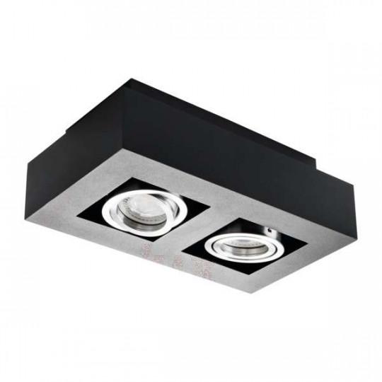Plafonnier saillie rectangulaire pour 2 ampoules GU10 Noir
