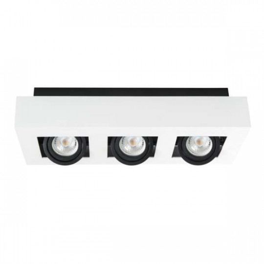 Plafonnier saillie rectangulaire pour 3 ampoules GU10 Blanc