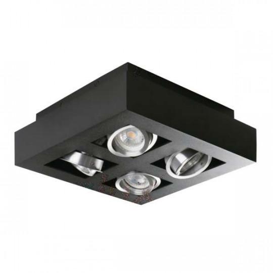 Plafonnier saillie carré pour 4 ampoules GU10 Noir