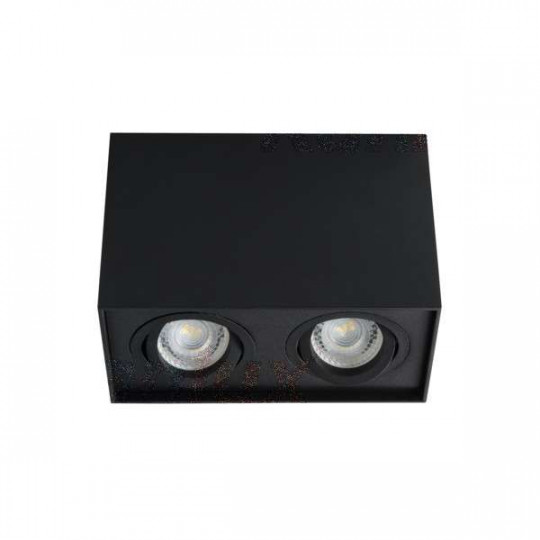 Plafonnier saillie rectangulaire pour 2 ampoules GU10 Mat noir
