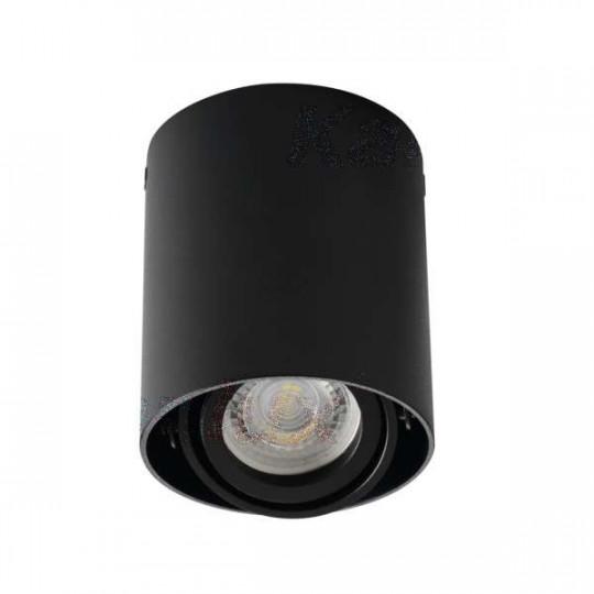 Plafonnier saillie rond pour 1 ampoule GU10 Mat noir