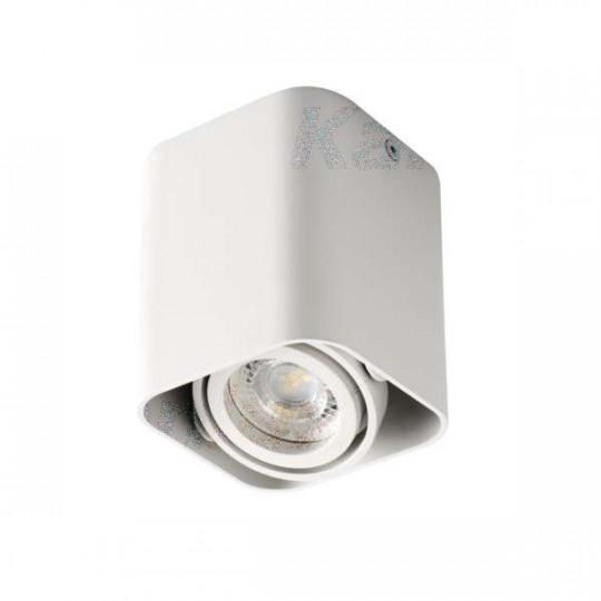 Plafonnier saillie carré pour 1 ampoule GU10 Blanc mat