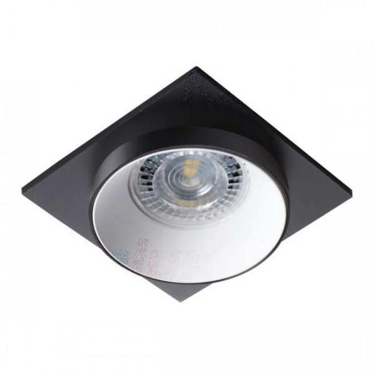 Support de spot encastrable perçage 68mm carré Noir / blanc / noir