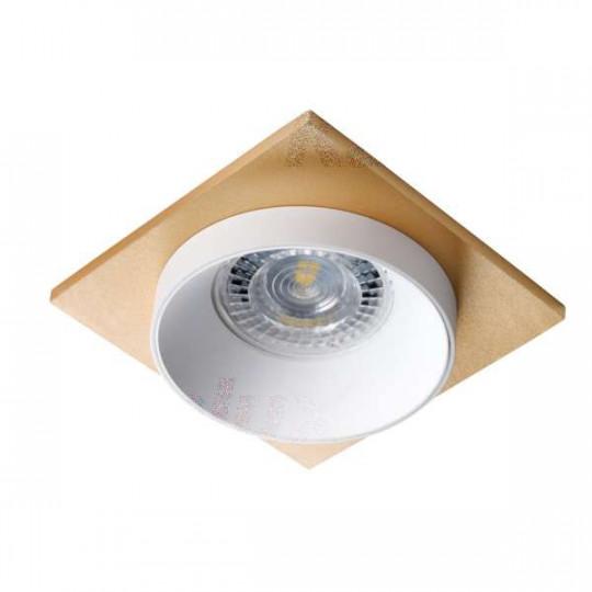 Support de spot encastrable perçage 68mm carré Blanc / blanc / or