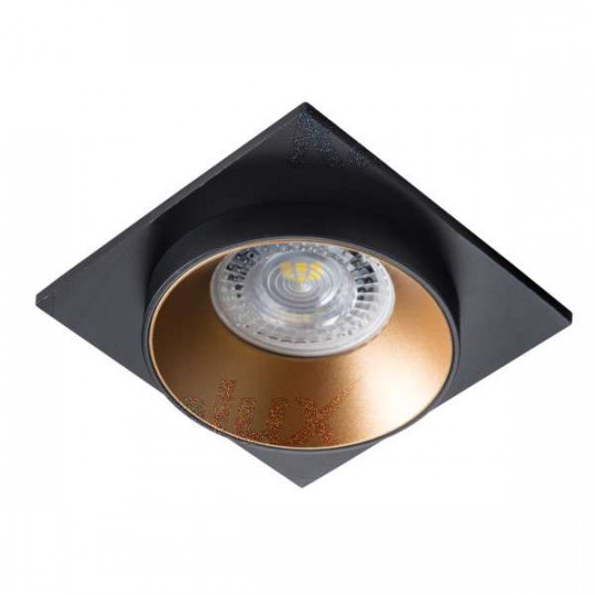 Support de spot encastrable perçage 68mm carré Noir / or / noir