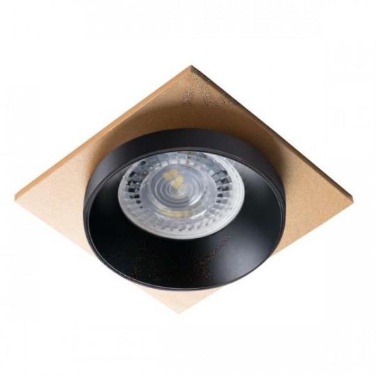 Support de spot encastrable perçage 68mm carré Noir / noir / or