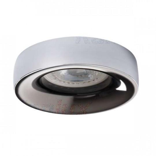 Support de spot encastrable perçage 70mm rond Chrome / anthracite