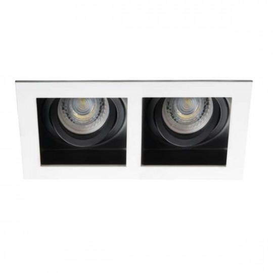 Support de spot encastrable perçage 90x170mm Rectangulaire Blanc
