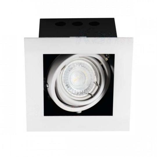 Support de spot encastrable perçage 95x95mm carré Blanc