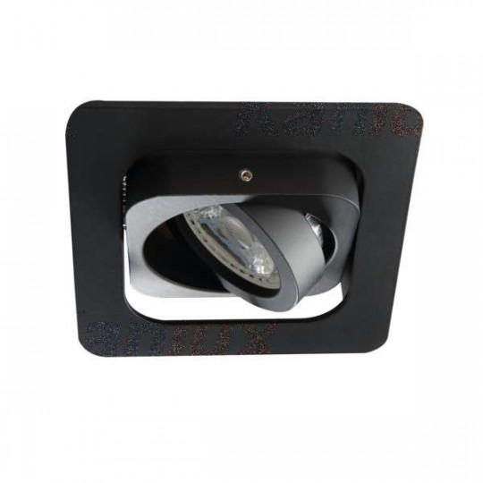 Support de spot orientable encastrable perçage 80x80mm carré Noir