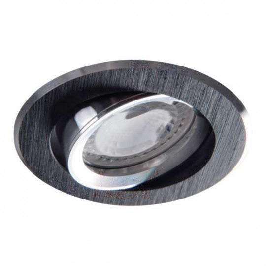 Support de spot encastrable perçage 70-75mm rond Noir anodisé