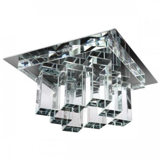 Support de spot encastrable perçage 53-85mm carré Chrome / transparent