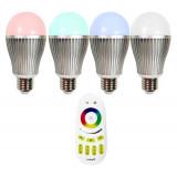 Ampoule LED E27 RGB +W 9W avec télécommande éclairage 75W