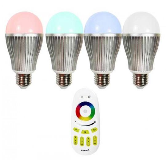 Ampoule LED E27 RGB +W 9W avec télécommande [éclairage 75W]