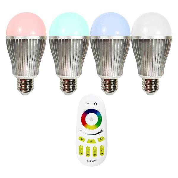 Ampoule LED E27 RGB +W 9W pilotable télécommande éclairage 75W
