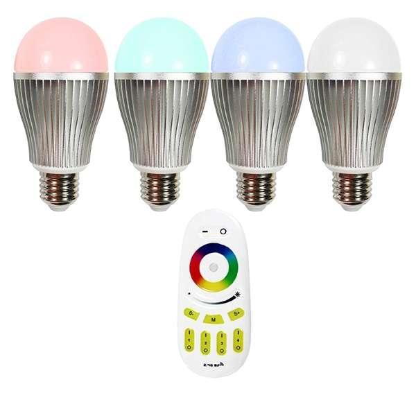 ampoule led e27 rgb w 9w avec t l commande clairage 75w. Black Bedroom Furniture Sets. Home Design Ideas