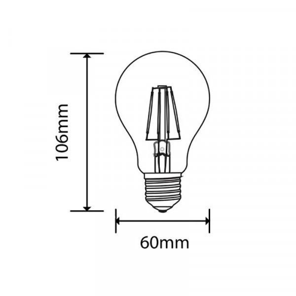 Ampoule LED E27 filament 4W 400lm A60 - Blanc Chaud 2700K