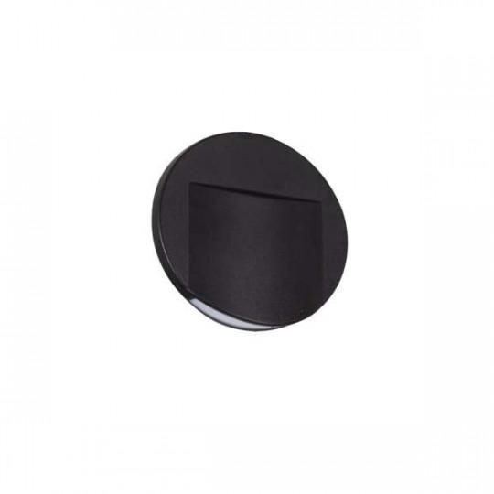 Applique LED escalier Rond ∅75mm 0,8W DC12V Noir ERINUS - Blanc Chaud 3000K