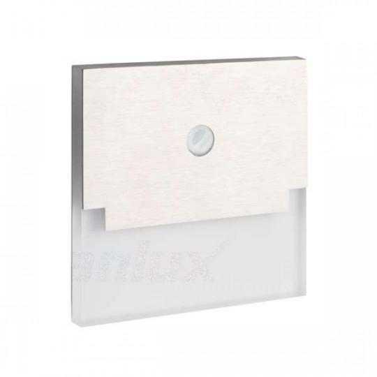 Applique LED escalier Carré 0,8W à Détecteur DC12V Acier inoxydable SABIK - Blanc du Jour 6500K