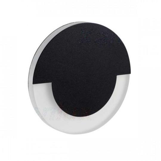 Applique LED escalier Rond ∅70mm 1,3W AC220-240V Noir SOLA - Blanc Chaud 3000K