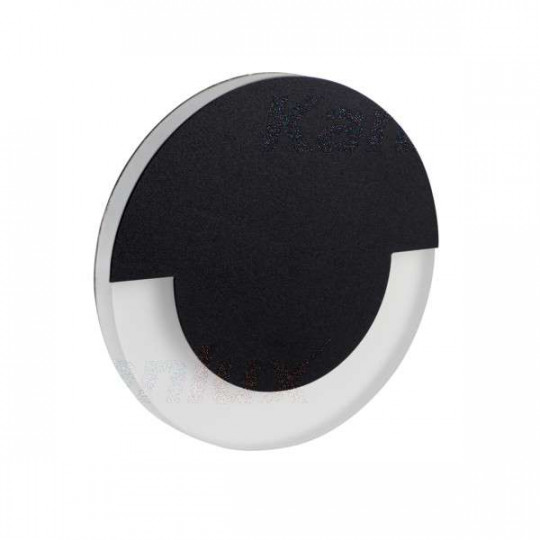 Applique LED escalier Rond ∅70mm 0,8W DC12V Noir SOLA - Blanc Naturel 4000K