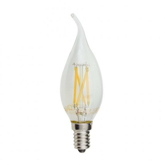 Ampoule LED E14 4W (30W) Filament Flamme Coup de Vent - Blanc Chaud 2700K