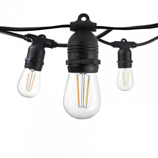 Guirlande Guinguette Noire Fixe IP65 14,4m pour 15 Ampoules E27