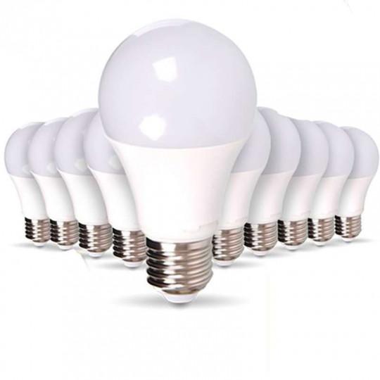 Lot de 10 Ampoules LED E27 9W Équivalent 50W A60 - Blanc du Jour 6000K