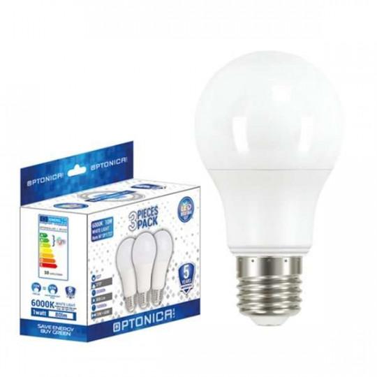 Lot de 3 Ampoules LED E27 A60 9W équivalent à 54W - Blanc du Jour 6000K