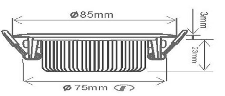 Dimensions spot led extra plat 8W