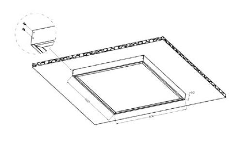 Schéma d'encastrement Dalle LED 1200x300