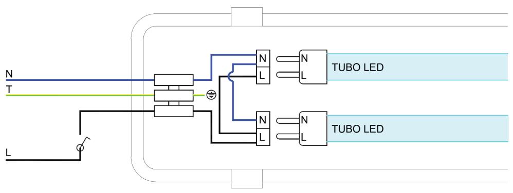 Connexion tube led