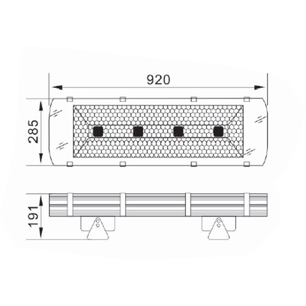 Dimensions du projecteur LED 200W