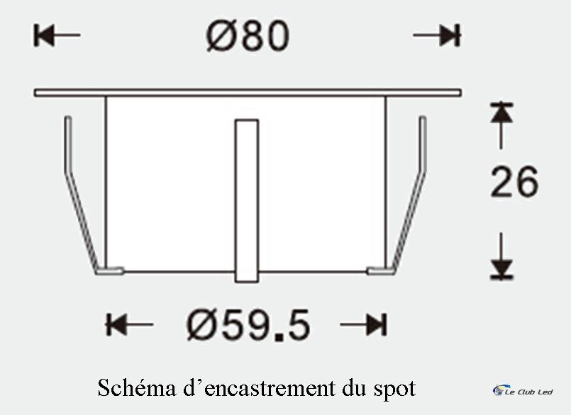 Schéma d'encastrement du spot
