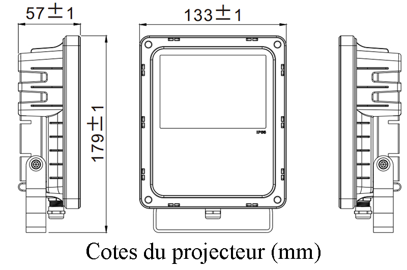 Cotes du mini projecteur (mm)